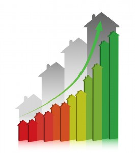 3D graph showing financial real estate growth.