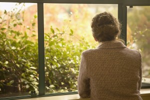 Rear view of woman looking out window