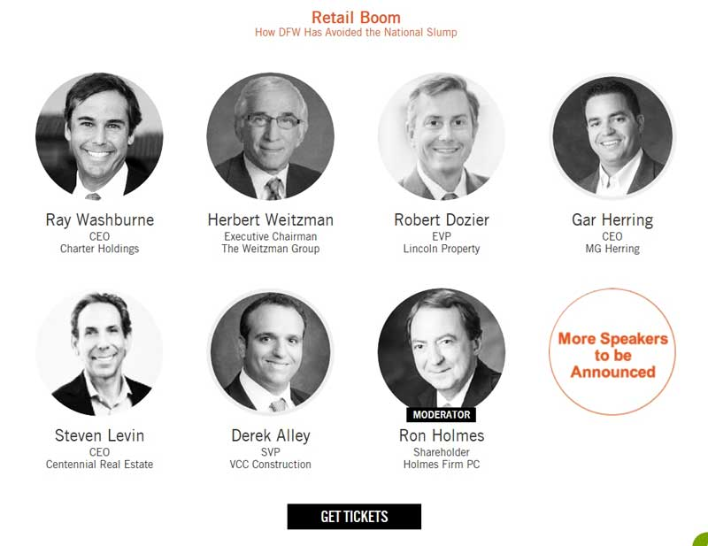 Ron Holmes is Moderator for the Bisnow DFW Retail Forum on June 15, 2016. Panelists include Ray Washburn, Herb Weitzman, Robert Dozier, Gar Herrring, Steven Levine and Derek Alley.