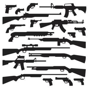 Guns rifles shotguns handguns assault rifles and other general guns silhouettes.