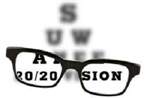 An image of eyeglasses with the words 20/20 vision visible through the lenses
