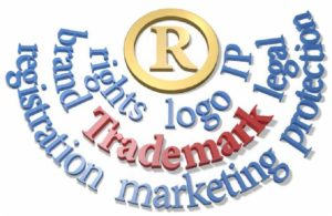A registered icon with the words rights, logo, IP, brand, trademark, legal, registration, marketing, and protection displayed around it