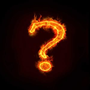 fire that is laid out in the shape of a question mark, to represent a burning question