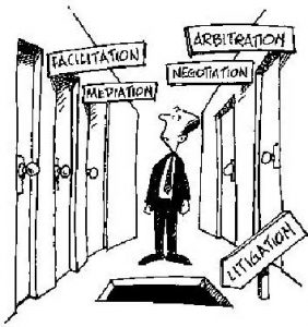 A confused man is standing in hallway reading signs over doors that say Facilitation, Arbitration, Negotiation, and Mediation. One sign points to a hole in floor and says Litigation.