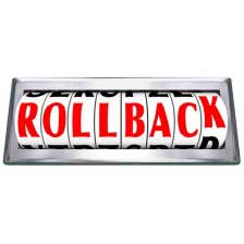 The word Rollback on a cylinder with the letter K rolling back to the other side