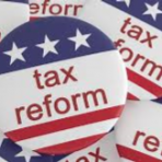 buttons with the words Tax Reform and a USA flag design with stars and stripes