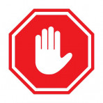 Stop sign with push hand icon instead of the word stop